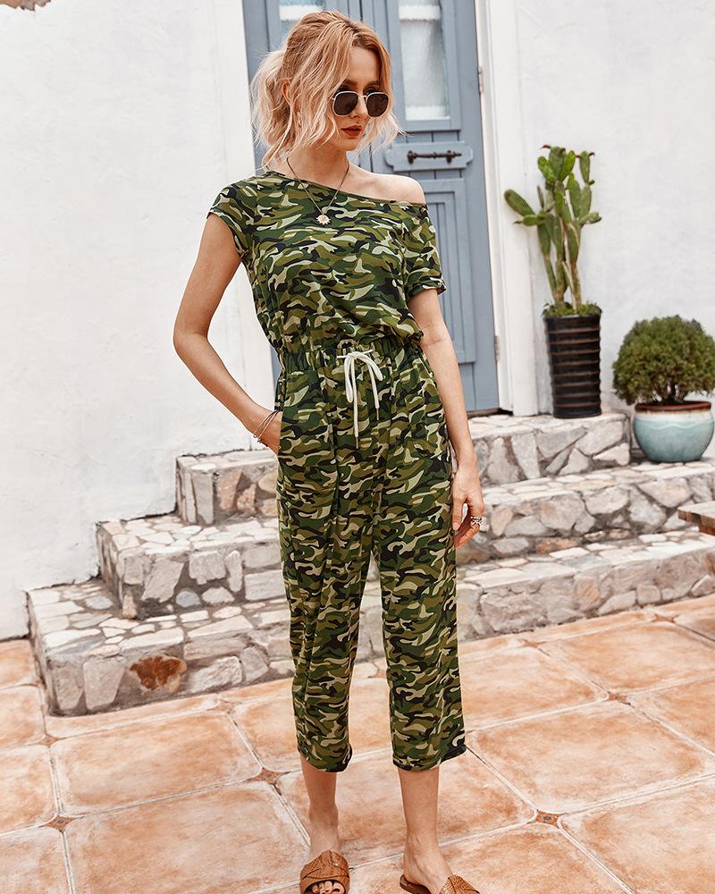 summer new fashion casual jumpsuit cropped pants NSKA992