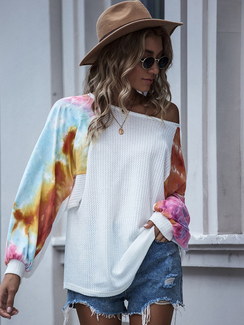 one-line neck tie-dye strappy sweater bat sleeve sexy off-shoulder top NSDF1289