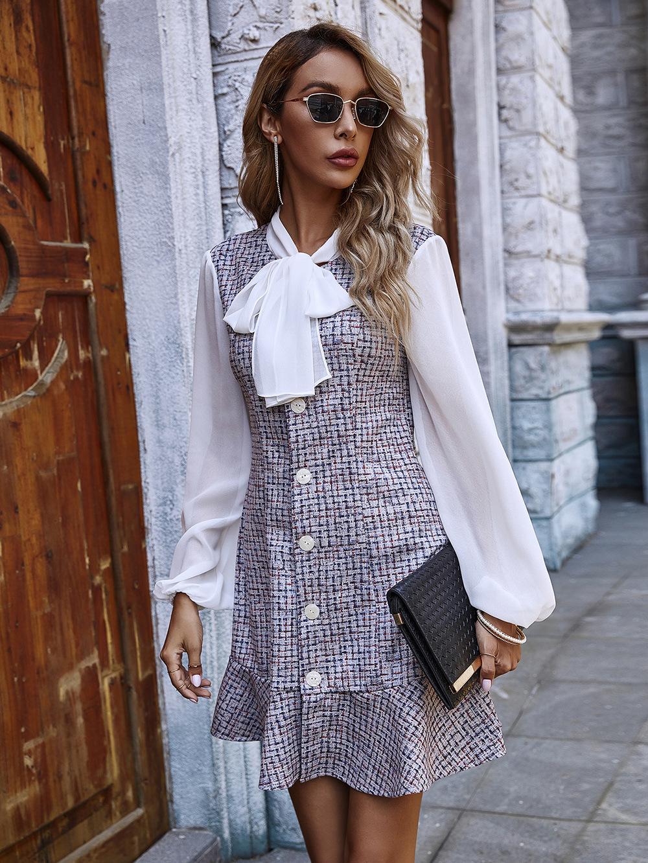 women's new butterfly collar puff sleeve ruffled autumn and winter dress wholesale NHDF9