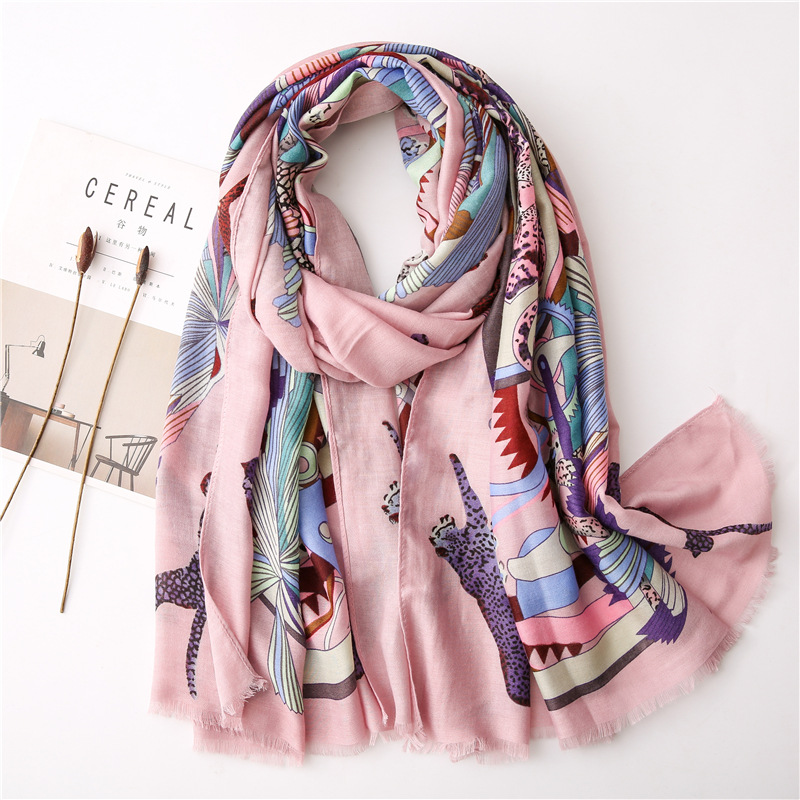 Cotton and linen scarf female spring and autumn intellectual pink leopard contrast color pattern long shawl dual-use NHGD202409