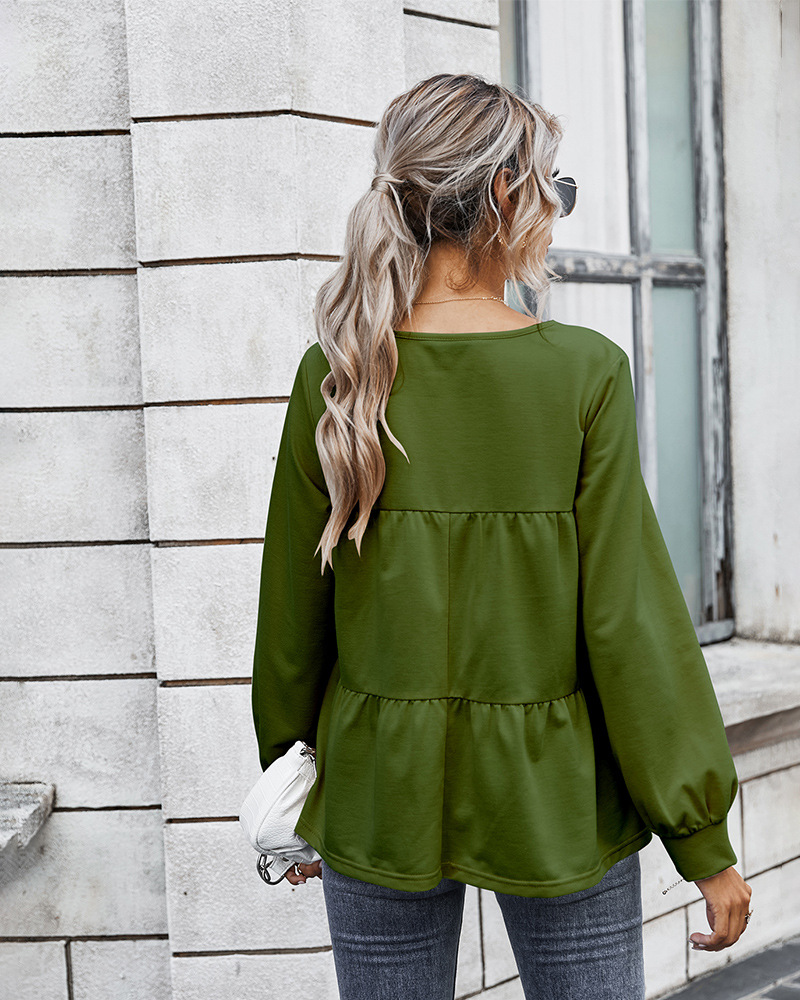 autumn women's new tops hot style retro classic solid color T-shirt wholesale NSKA277