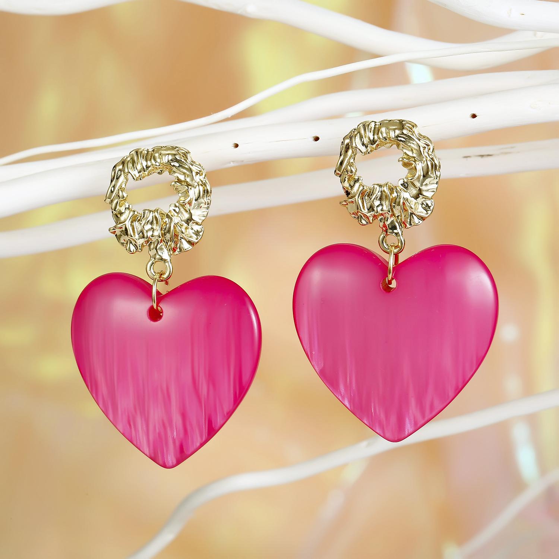 Jewelry New Exaggerated Love Earrings Resin Gold Foil Earrings Long Earrings NHGO201048