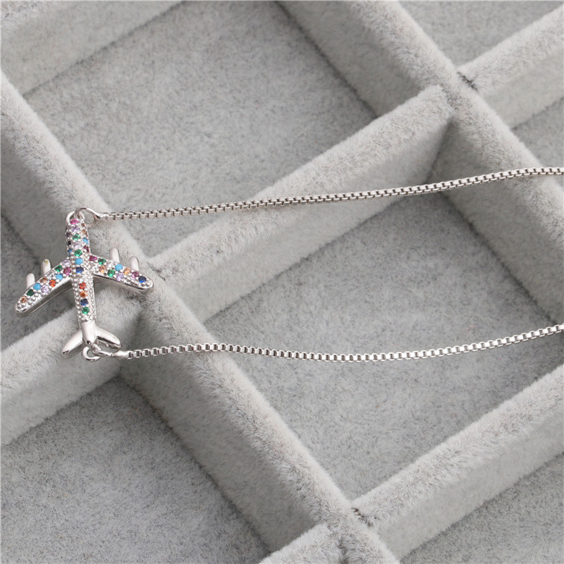 fashion jewelry necklace micro-set zircon aircraft hanging necklace Copper wholesale nihaojewelry NHYL226508