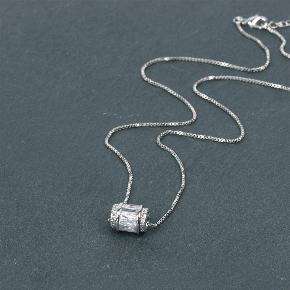 Fashion Micro Inlaid Zircon Large Hole Bead Pendant Stainless Steel Clavicle Chain NHPY199134