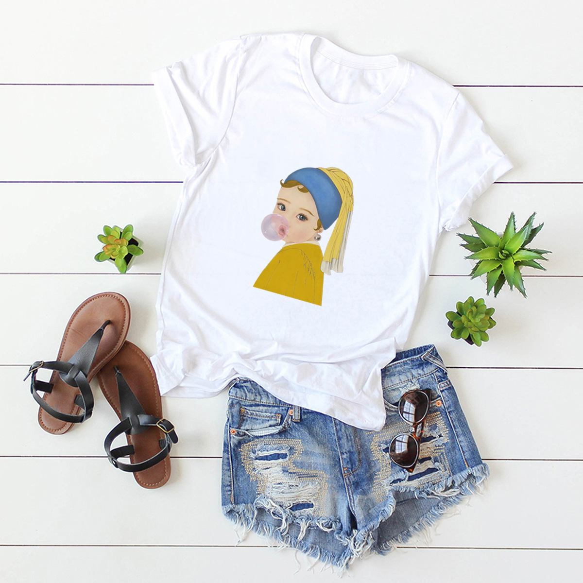 new portrait print plus size short-sleeved T-shirt  NSSN380