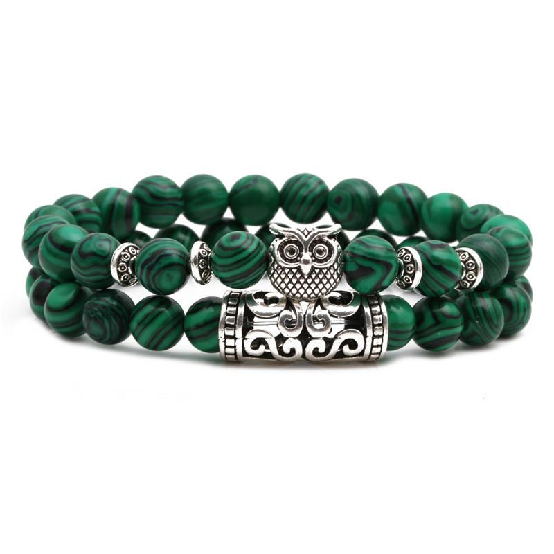 Malachite Owl Buddha Head Elbow Set Bracelet Lion Head Elephant Beaded Bracelet NHYL199069