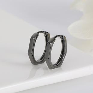 S925 sterling silver acreli geometric multi-octagon simple style black silver buckle earrings circle men and women ear buckles