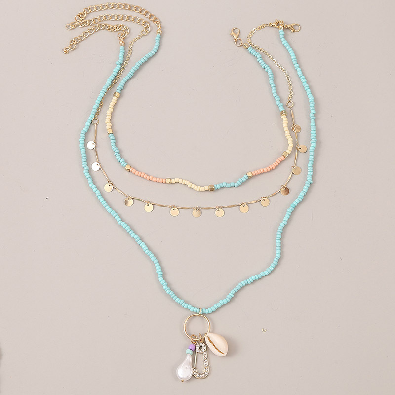 Bohemian style multilayer woven shell rice bead trend pearl pendant necklace jewelry NHLA259383