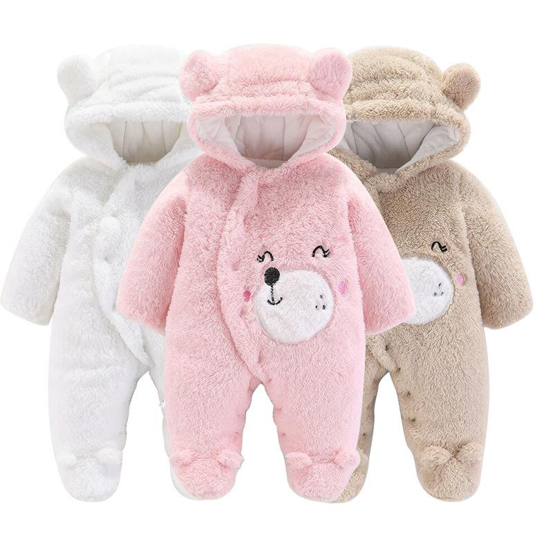 婴儿衣服秋冬加厚保暖宝宝连体衣新生儿舒棉绒爬服哈衣一件代发