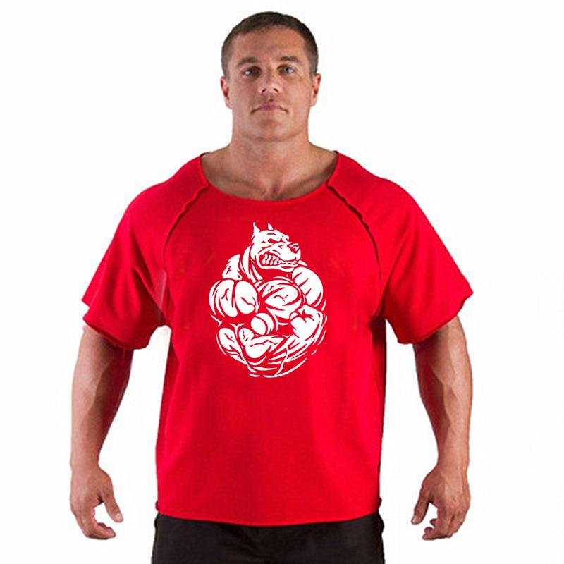 新款肌肉狗健身兄弟运动宽松T恤 速干透气短袖跑步健身服