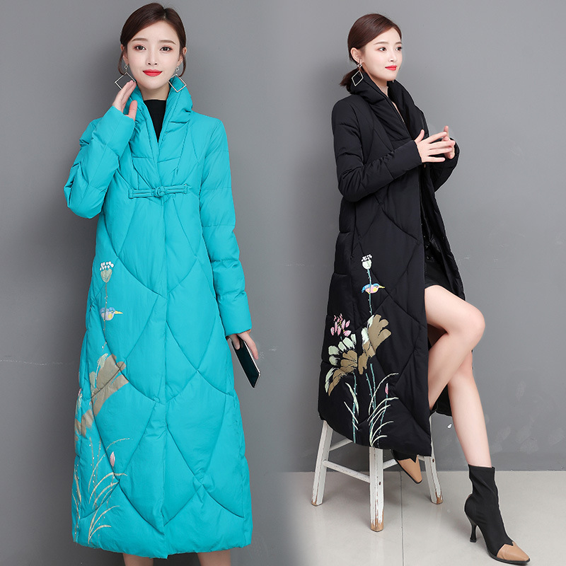 Chinese style cotton padded women's 2020 new stand collar printed slim medium length cotton padded jacket with button up