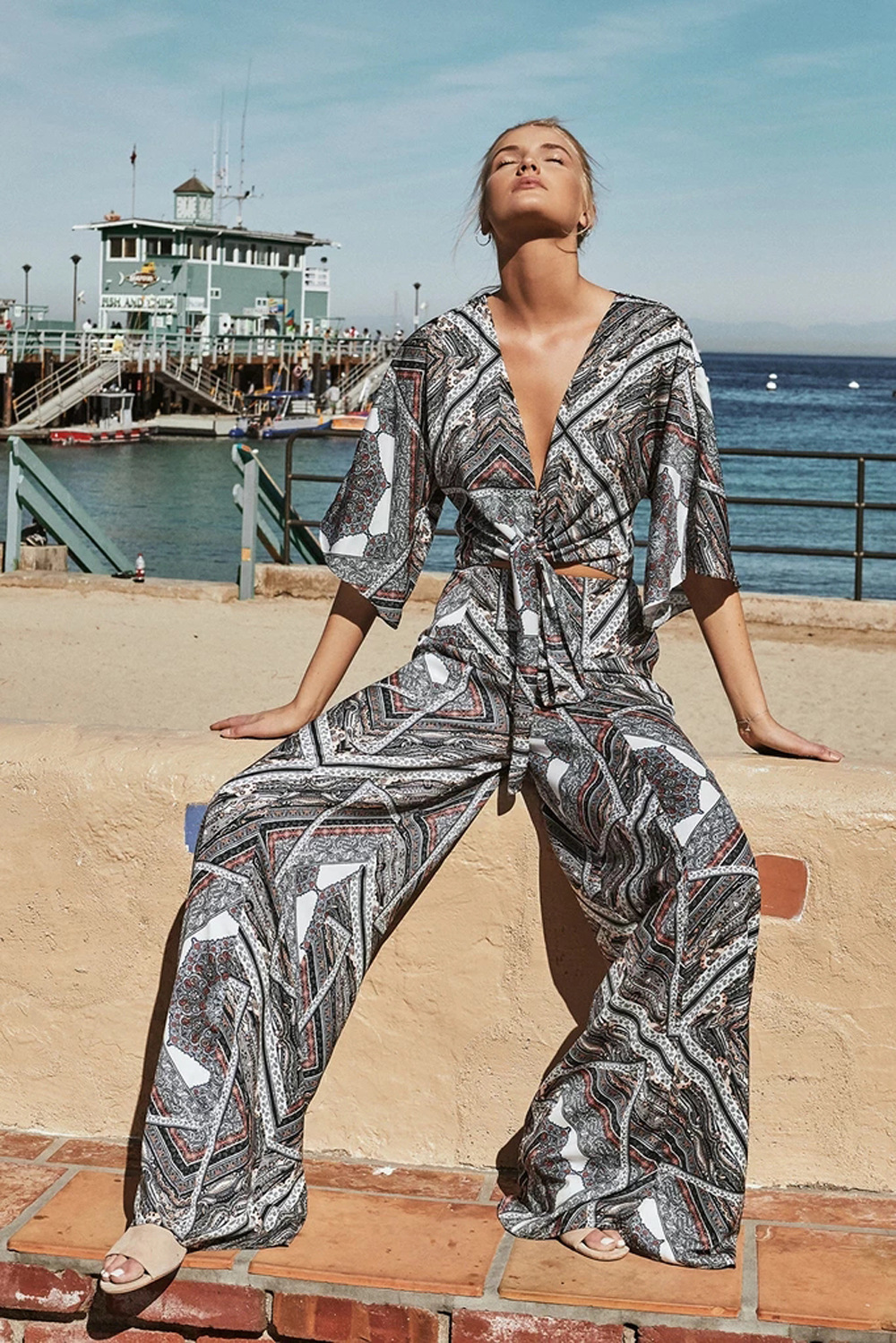 retro style summer women's floral bow jumpsuit slim fit NSDF1478