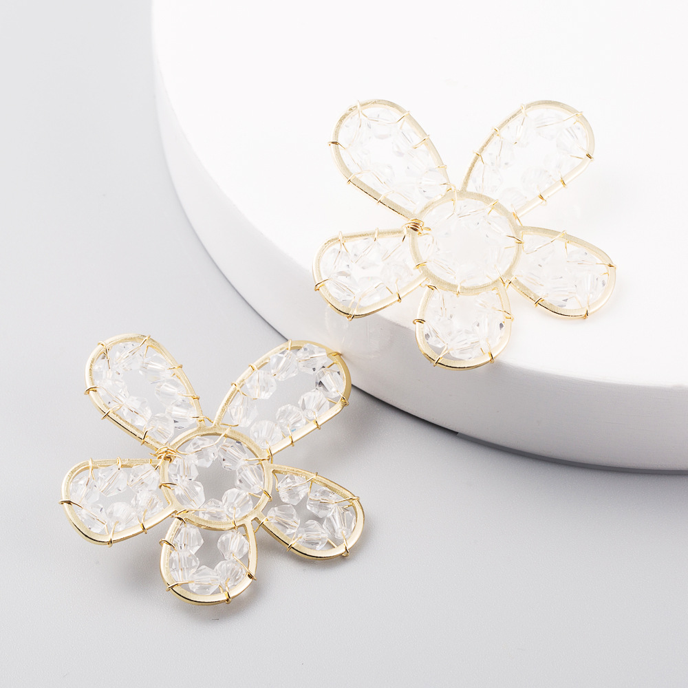 S925 Silver Needle Korean Fashion Hollow Handmade Crystal Flower Ear Studs Three-dimensional Petal Earrings NHLN204418