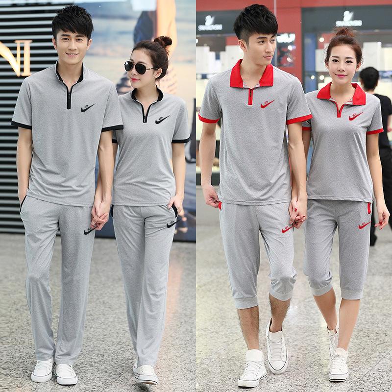 运动套装男夏季短袖长裤情侣装运动服女跑步休闲装大码卫衣两件套
