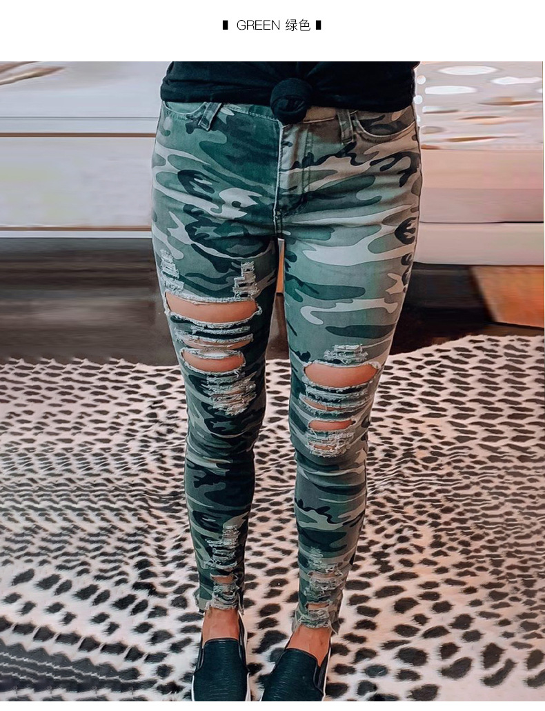 slimming camouflage holes old tight-fitting denim pants  NSSI2335