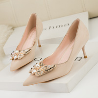 185-2 han edition style sweet high-heeled shoes heel high-heeled shoes lighter pointed diamond bowknot is women's shoes