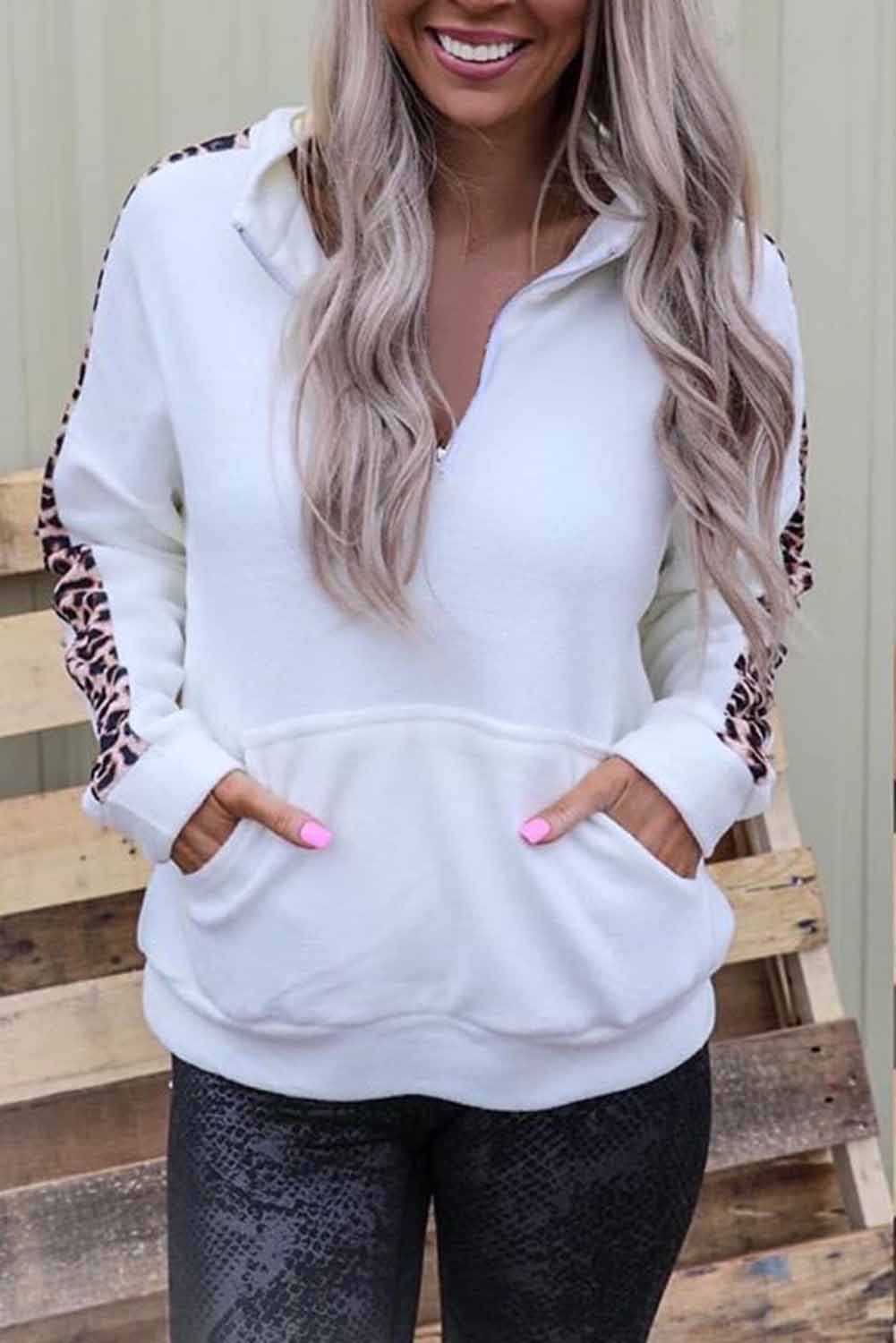 long-sleeved autumn leopard pattern stitching street style stand-up collar pullover women's sweater NSSI2487