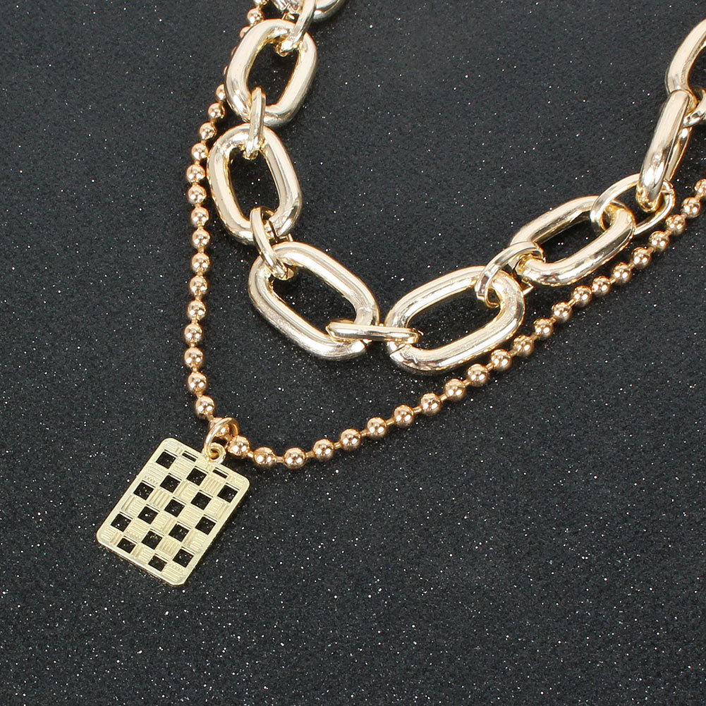 fashion wild item simple metal square women's pendant clavicle chain necklace  NHCT243275