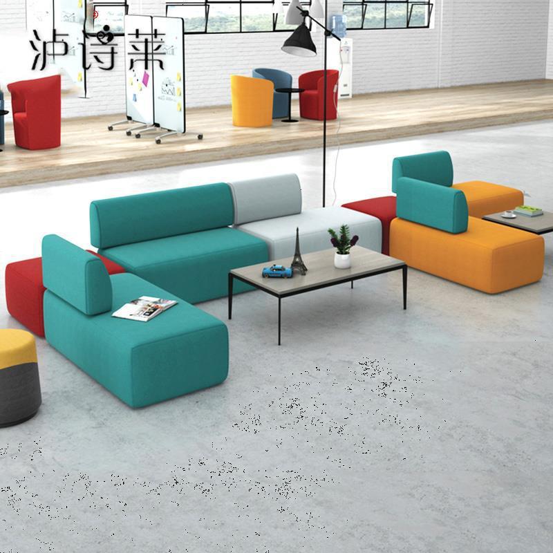 三人位布艺沙发办公室美甲店休闲组合商场接待休息区商店个性创意