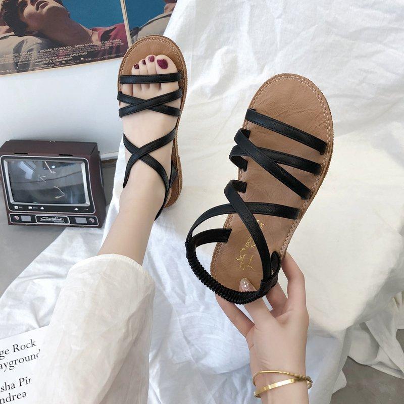 凉鞋女2020新款夏季仙女风交叉绑带ins女鞋潮平底鞋子厚底罗马鞋