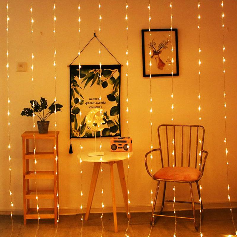 跨境專供USB遙控銅線窗簾燈3*3米節日婚慶網紅房間少女心裝飾燈串