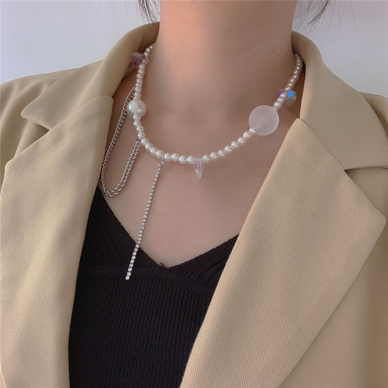 Korea pearl necklace women sweet wind transparent acrylic size planet chain tassel necklace crystal love pearl clavicle chain wholesale nihaojewelry NHYQ220141