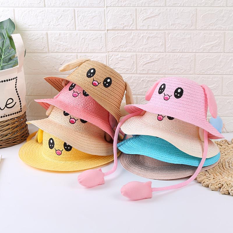 新款儿童遮阳帽夏耳朵会动的帽子气囊兔子帽防晒草帽旅游景点批发