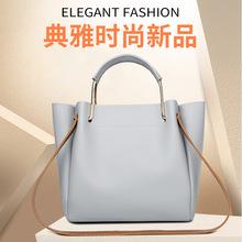 包包女2020夏季新款韩版纯色女式手提包金属把手休闲单肩包女包