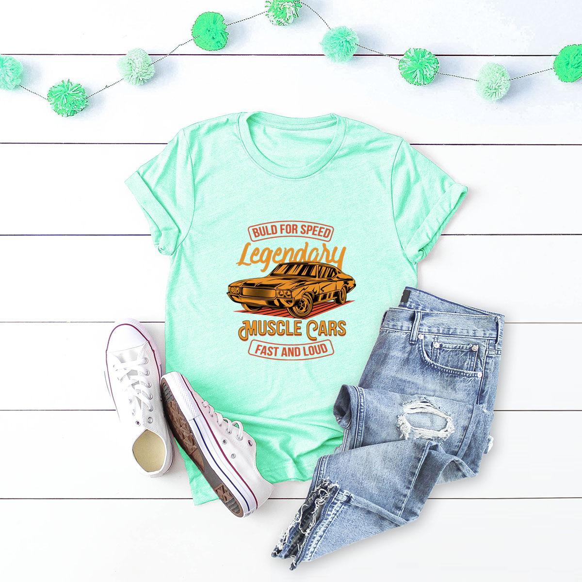 car printing pure cotton short-sleeved t-shirt women NSSN2687