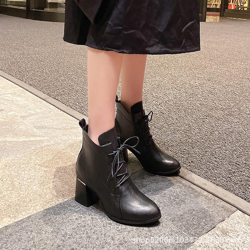 代发秋冬季欧美新款真皮高跟短靴尖头时尚马丁靴小码313233女士靴