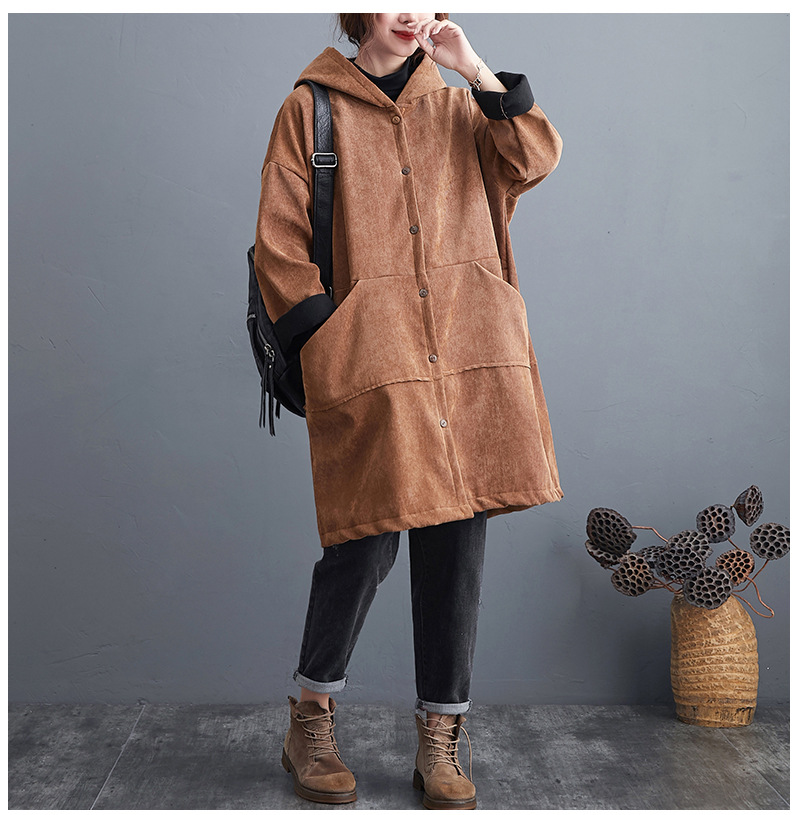new plus size corduroy cotton-padded  women's mid-length solid color hooded plus velvet padded jacket NHYF274959