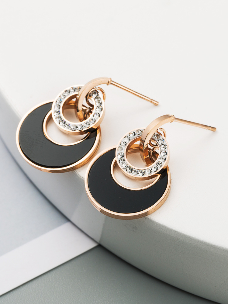 Korean new earrings high quality titanium steel inlaid diamond earrings simple wild small circle earrings NHLN214433