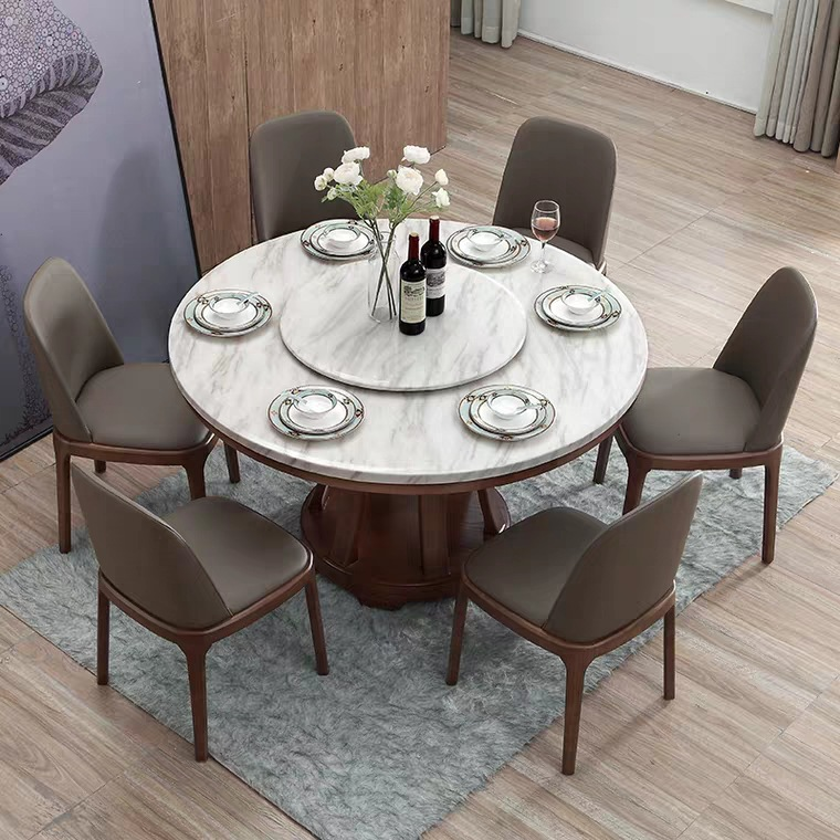 Nordic Marble Round Dining Table And Chair Combination Simple Modern Small Apartment Home Dining Table With Turntable One Table Six Chairs Zoppah Com Zoppah Online