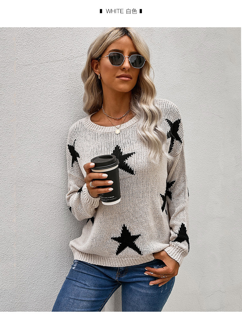 star pattern loose round neck women's pullover sweater NSSI2370