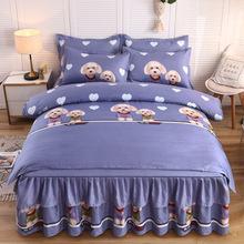厂家直销微商爆款加厚磨毛床裙四件套双层花边床上用品一件代发