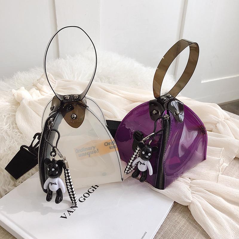 PVC transparent bag summer new jelly plastic bag fashion triangle small bag waterproof hand bag shoulder bag NHGA208318