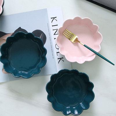 北欧家用陶瓷餐具创意花边碗水果沙拉甜品碗小吃碗焗饭烘焙碗烤碗