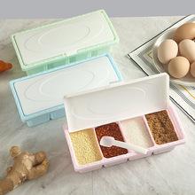 創意廚房用品4格調料盒多功能塑料鹽味精調料瓶 調味料罐批發