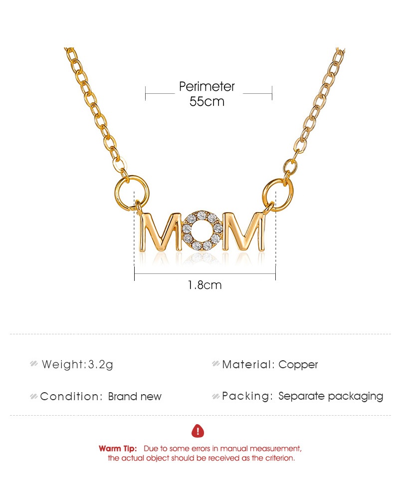 Mother's Day Necklace Simple Wild English Alphabet Necklace Mom Pendant Clavicle Chain Creative Holiday Gift wholesale nihaojewelry NHDP219993