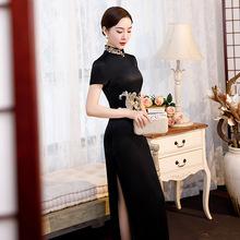 2020新款时尚修身连衣裙刺绣长款中式复古短袖立领重磅丝绸旗袍