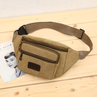 Factory direct sale Korean unisex canvas thickened waist bag, mobile phone bag, wallet, support one drop shipping