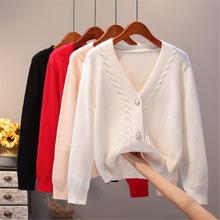 開衫外套女針織2020秋季新款韓版好搭寬松外搭短款純色厚毛衣女裝