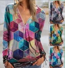 秋冬季長袖上衣新款eBay亞馬遜wish歐美外貿休閑寬松女士V領衛衣
