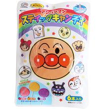 日本进口零食 不二家面包超人儿童宝宝水果味棒棒糖护齿糖6支入