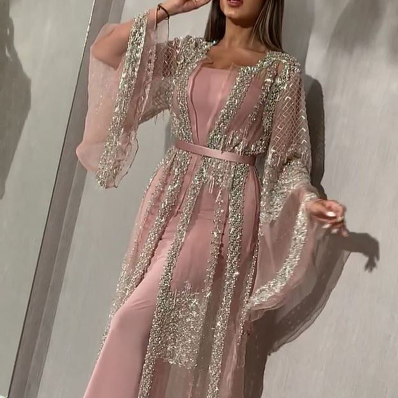 2020 new European and American foreign trade women's independent station hot stamping big sexy long dress shawl party evening dress new