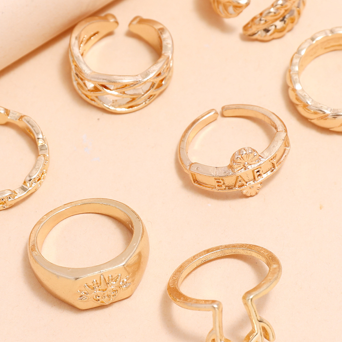 Hot selling fashion personality geometric ring antler mesh thorn leaf joint ring 9 piece set NHPV257775