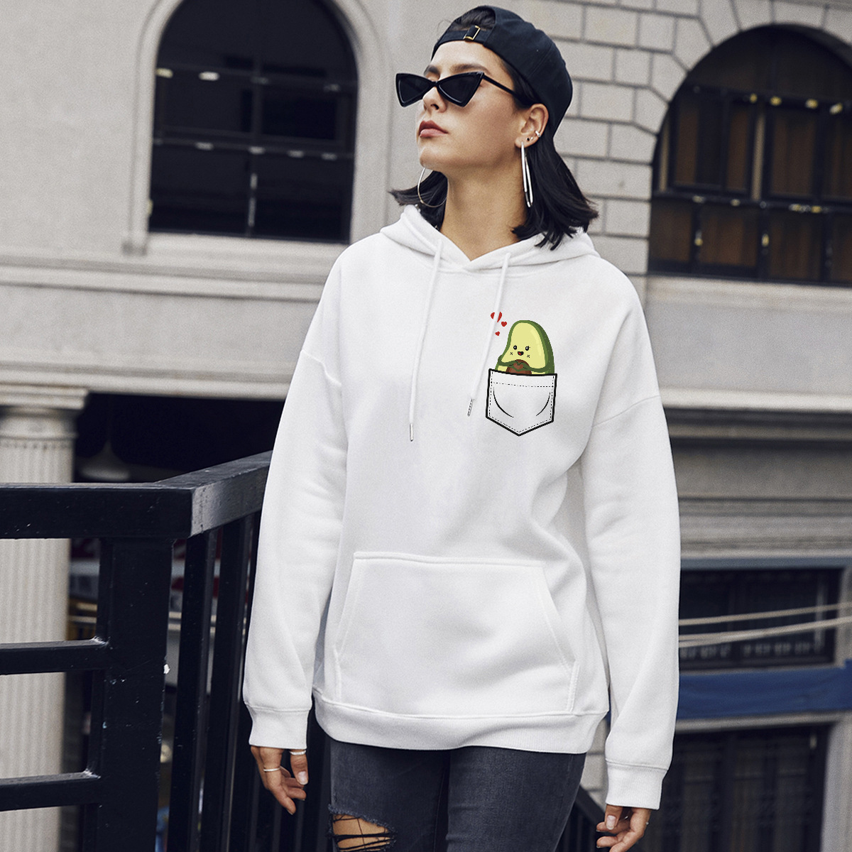 autumn and winter women's street casual hooded sweater pocket avocado NSSN1878