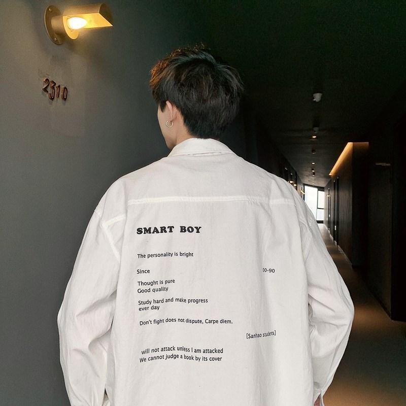 春夏季男长袖衬衫韩版潮流宽松男衬衣原宿港风长袖衣服衫俏