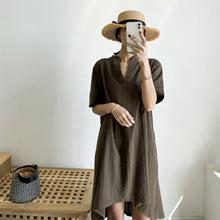 满蓝2020韩版时尚女装新款短袖棉麻连衣裙女纯色不规则t恤裙子夏