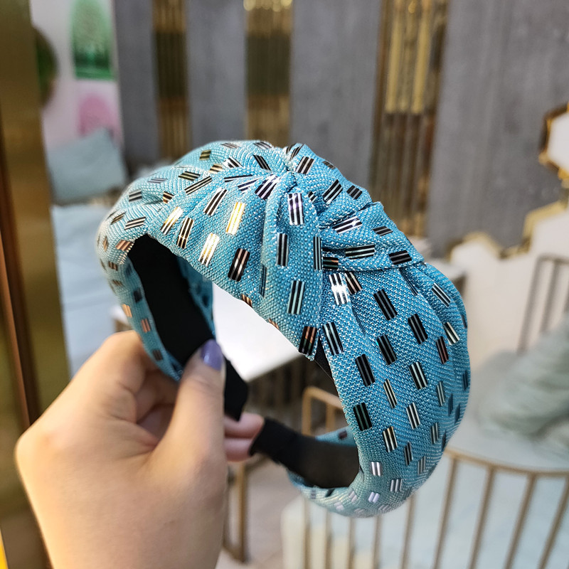 Korean fashion new highend fabric knotted headband fashion simple pressure headband wide side gold thread  headdress wholesale nihaojewelry NHUX222353